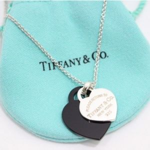 Authentic Tiffany Black Onyx Double Heart Necklace